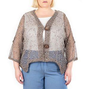 Plus Size Nina Leonard Coconut-Button Bolero