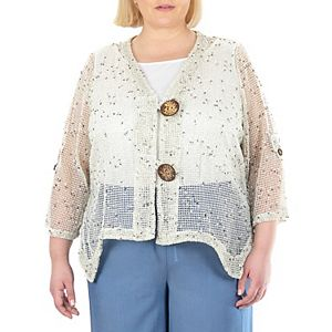 Plus Size Nina Leonard Coconut-Button Bolero