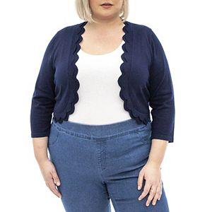 Plus Size Nina Leonard Scallop-Trim Bolero Cardigan
