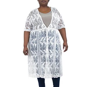 Plus Size Nina Leonard Sheer Embroidered Mesh Duster