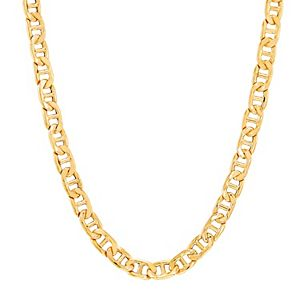 Men's 18k Gold Over Silver 7 mm Hollow Mariner Chain Necklace