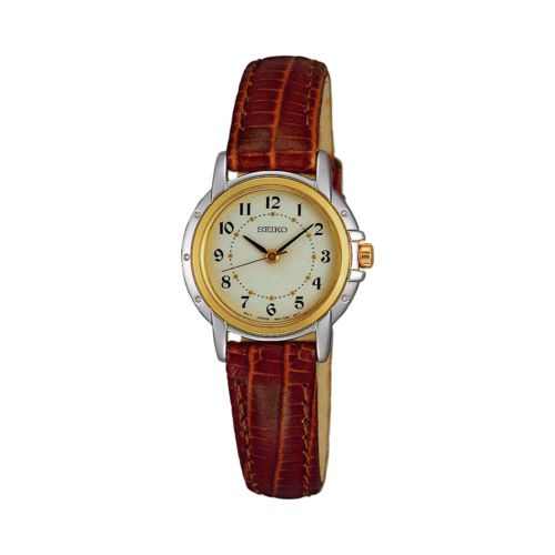Seiko Stainless Steel Two Tone Leather Watch - Women
