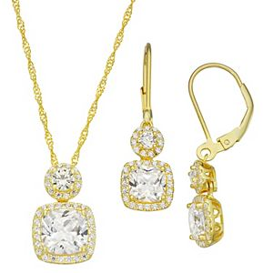 14k Gold Over Silver Cubic Zirconia Cushion Halo Pendant & Earring Set