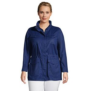 Plus Size Lands' End Hooded Cargo Jacket
