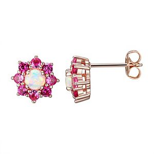 14k Rose Gold Over Silver Lab-Created White Opal, Lab-Created Ruby & Lab-Created Pink Sapphire Stud Earrings