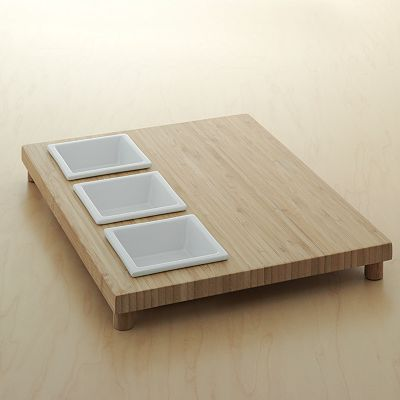 Food Network 4-pc. Square Bowl and Bamboo Serving Tray Set