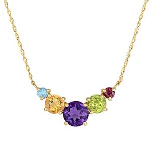 Multi Color 10k Yellow Gold Necklace