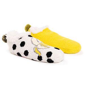 Women's Betsey Johnson 2-Pack Cabin Footie Sock Set
