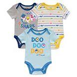 Baby Boy Baby Shark 3 Pack Bodysuit Set