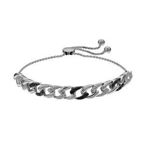Sterling Silver 1/8 Carat T.W. Diamond Black & White Diamond Adjustable Bracelet