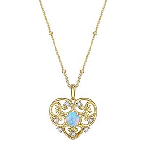 18k Gold Over Silver Lab Created Blue Opal & Diamond Accent Filigree Heart Pendant