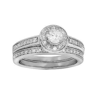 14k White Gold 1-ct. T.W. IGI Certified Round-Cut Diamond Ring Set
