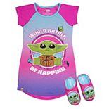 Girls 4-12 Lego Star Was The Child aka Baby Yoda Nightgown & Slippers Pajama Set