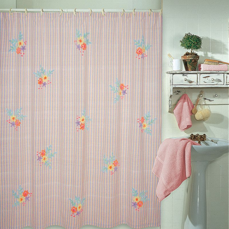 Park B Smith Floral Striped Fabric Shower Curtain