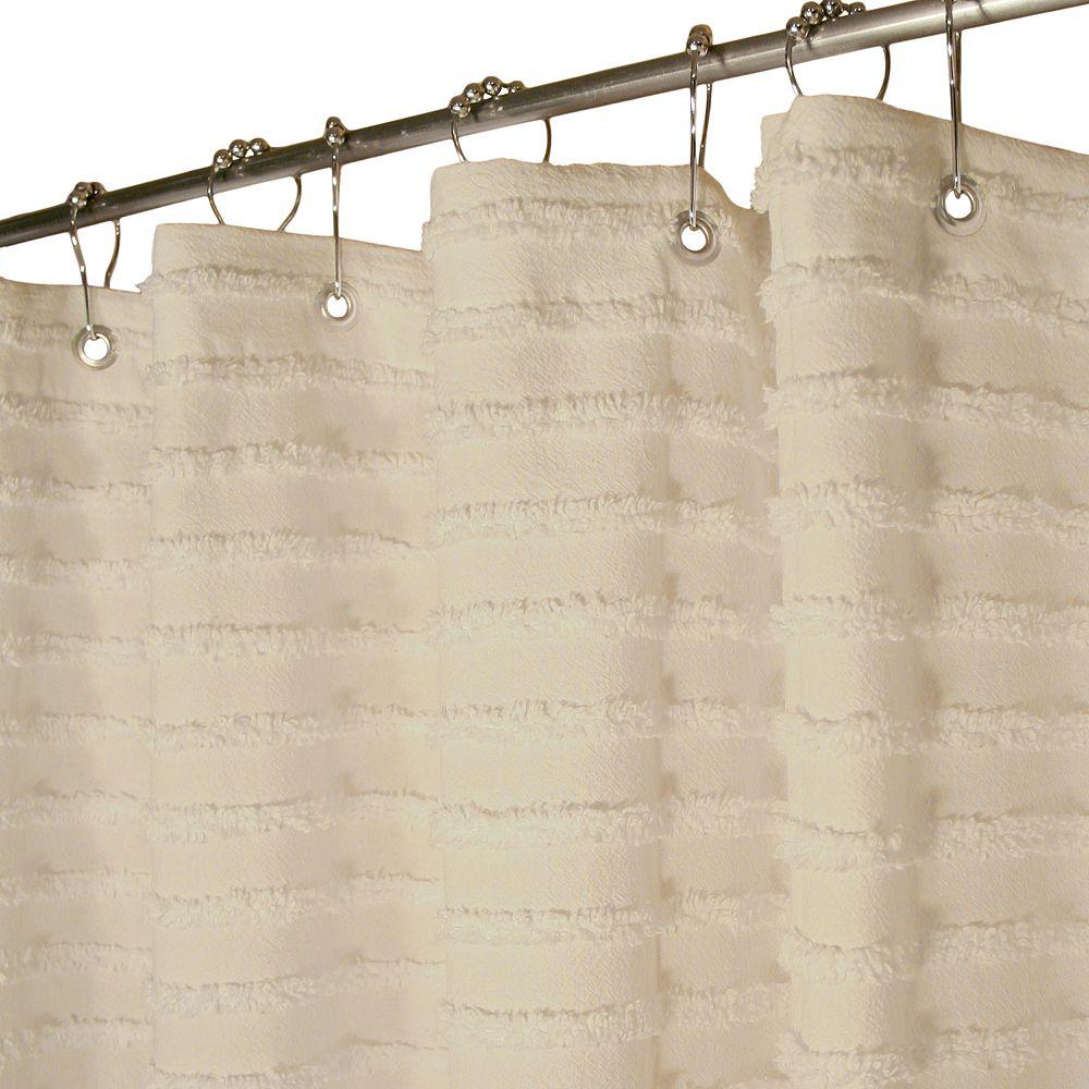 Natural shower curtain - Park B Smith Retro Striped Fabric Shower Curtain