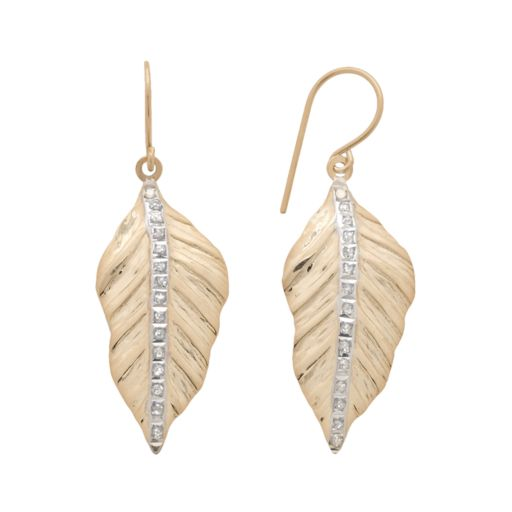 Jewelry for Trees 14k Gold Diamond Accent Leaf Drop Earrings