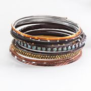 Mudd Two Tone Beaded Bangle Bracelet Set