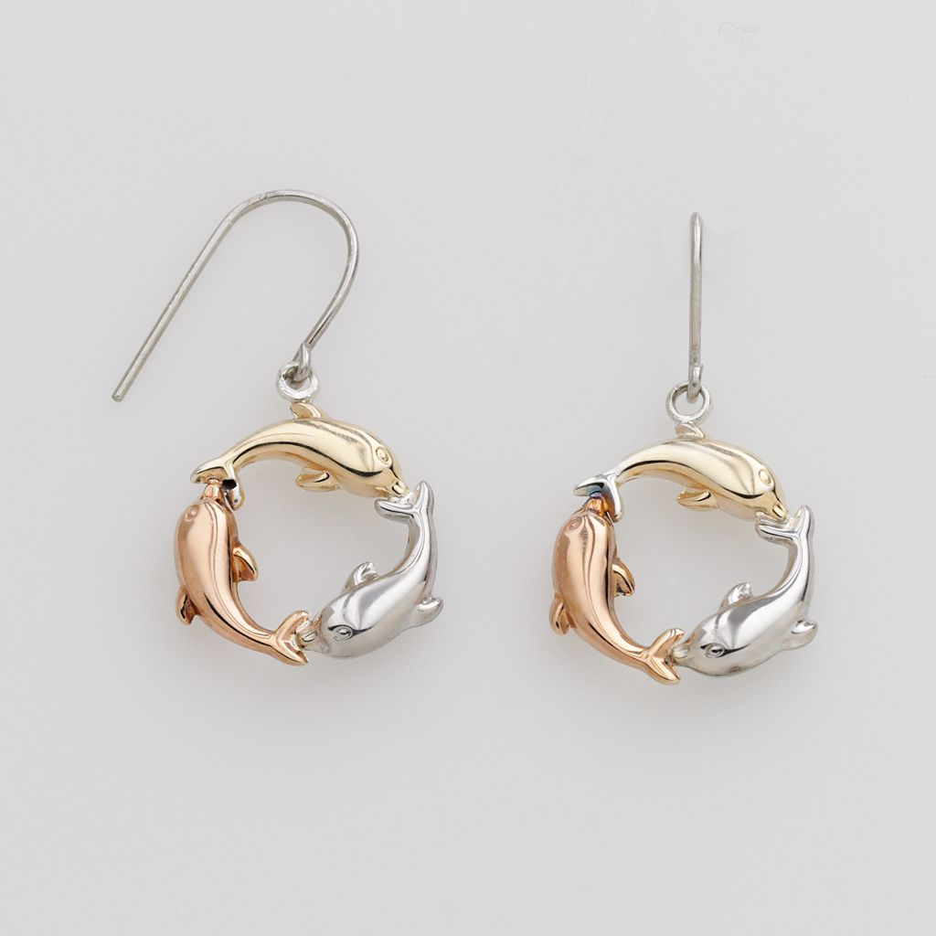 Jewelry for Trees 14k Gold & Sterling Silver Tri-Tone Dolphin Drop Earrings