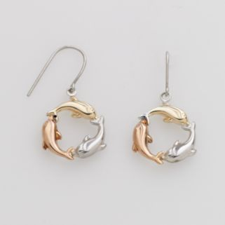 Jewelry for Trees 14k Gold and Sterling Silver Tri-Tone Dolphin Drop Earrings