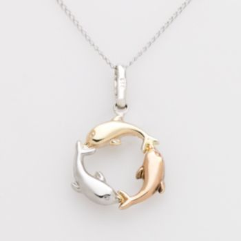 Jewelry for Trees 14k Gold and Sterling Silver Tri-Tone Dolphin Pendant