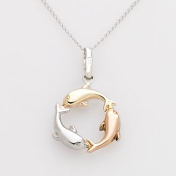 Jewelry for Trees 14k Gold & Sterling Silver Tri-Tone Dolphin Pendant