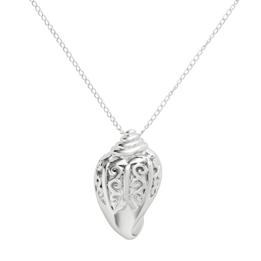 Jewelry for Trees Platinum Over Silver Shell Pendant