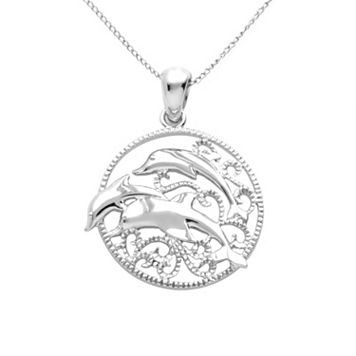 Jewelry for Trees Platinum-Over-Silver Dolphin Pendant