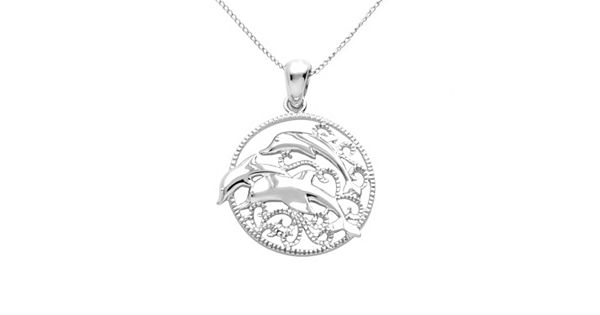 Jewelry for trees platinum over silver dolphin pendant for Kohls fine jewelry coupon