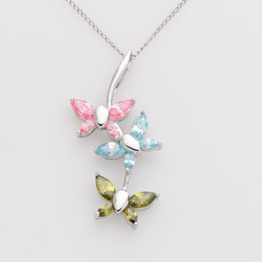 Jewelry for Trees Platinum-Over-Silver Butterfly Pendant