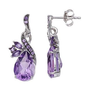 SIRI USA by TJM Sterling Silver Natural Amethyst & Amethyst Synthetic Quartz Pear Earrings