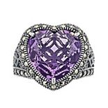 Lavish by TJM Sterling Silver Lab-Created Amethyst & Marcasite Heart Ring