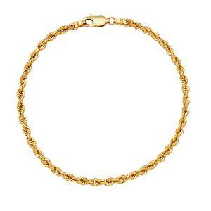 14k Gold Hollow Glitter Rope Bracelet
