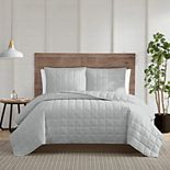 Truly Calm Silver Cool White Quilt Set with Shams
