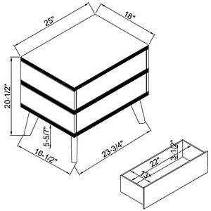 Linon Mid-Century Modern 2-Drawer Nightstand