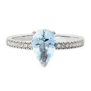 10k White Gold Aquamarine & 1/8 Carat T.W. Diamond Ring