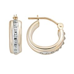 Diamond Fascination® 14k Gold Diamond Accent Hoop Earrings