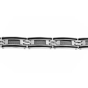 Men's LYNX Stainless Steel Black Cable Inlay Bracelet