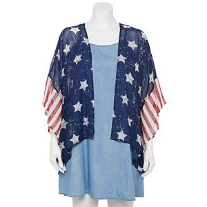 Juniors' Plus Size WallFlower Chambray Swing Dress with Americana Kimono