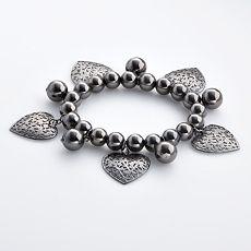 Candie's Jet-Tone Beaded Heart Flex Bracelet