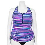 Plus Size Free Country 1/4-Zip Ruched Sides UPF 50 Tankini Top