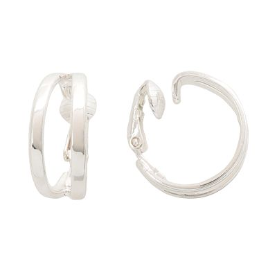 Trifari Silver Tone Hoop Clip-On Earrings