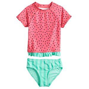 Toddler Girl Jumping Beans® Watermelon Rash-Guard & Swim Bottoms Set