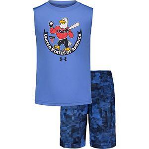 Toddler Boy Under Armour USA Tank & Shorts Set