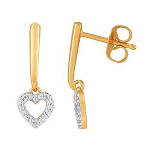 10k Gold 1/10 Carat T.W. Diamond Heart Dangle Earrings