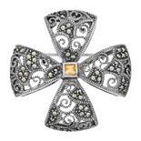 Lavish by TJM Sterling Silver Citrine & Marcasite Brooch
