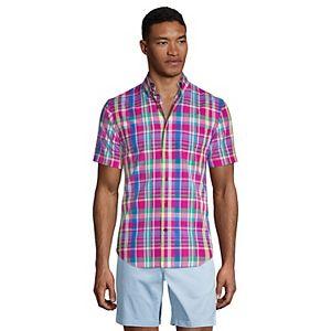 Men's Lands' End Classic-Fit Tailored-Fit Madras Plaid Button-Down Shirt