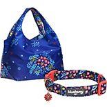 Blueberry Pet Floral Dog Collar & Shopping Bag Set