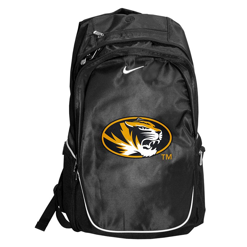 Nike Missouri Tigers Backpack, Black Spacious main compartment, side pocketsand front organizer pouch keep your textbooks, supplies and gadgets handy. Padded adjustable shoulder straps conform to your liking. Microfiberconstruction ensures durable use. Details: 20H x 12W x 7D Zipper closures Adjustable shoulder straps Polyester Model no. 9N3004CUM Size: One size. Color: Black. Gender: Unisex. Age Group: Adult. Material: Polyester/Embroidery.