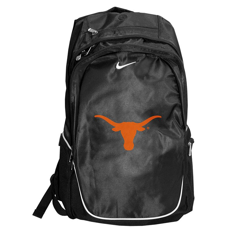 Nike Texas Longhorns Backpack, Black Spacious main compartment, side pocketsand front organizer pouch keep your textbooks, supplies and gadgets handy. Padded adjustable shoulder straps conform to your liking. Microfiberconstruction ensures durable use. Details: 20H x 12W x 7D Zipper closures Adjustable shoulder straps Polyester Model no. 9N3004CTL Size: One size. Color: Black. Gender: Unisex. Age Group: Adult. Material: Polyester/Embroidery.