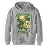 Boys 8-20 Star Wars Yoda Lucky One Retro St Patrick's Day Graphic Fleece Hoodie